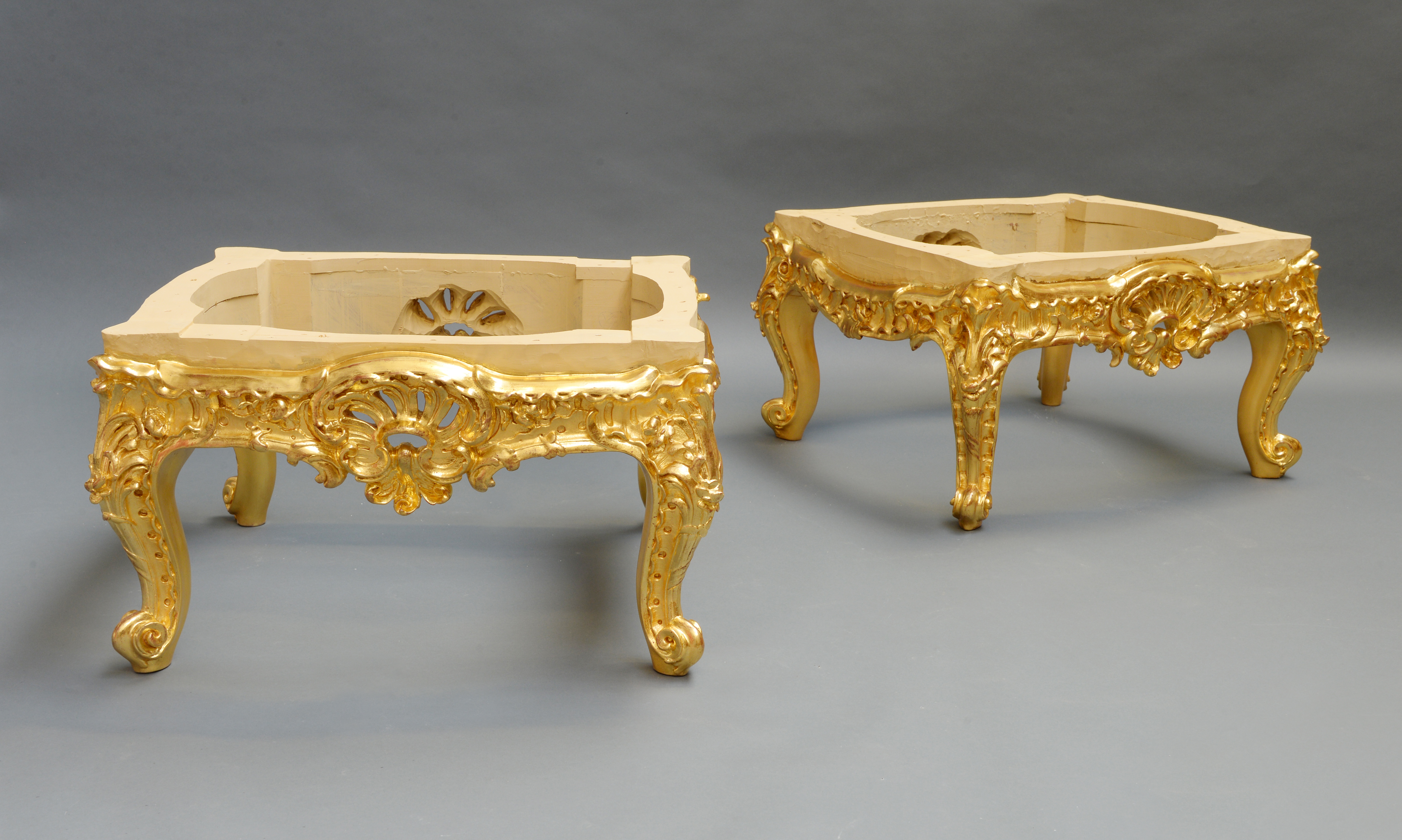 A Pair Of Carved And Gilded Tabouret Stools Made To Commission