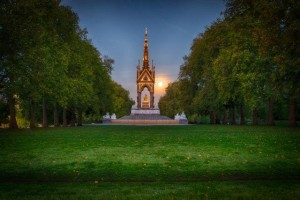 Albert Memorial in moonlight from Super moon