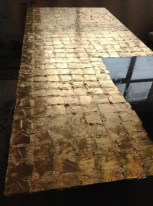 Clear glass panel gilding verre eglamise