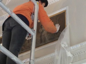 Painted panel cleaning in Christopher Wrens Fawley Court